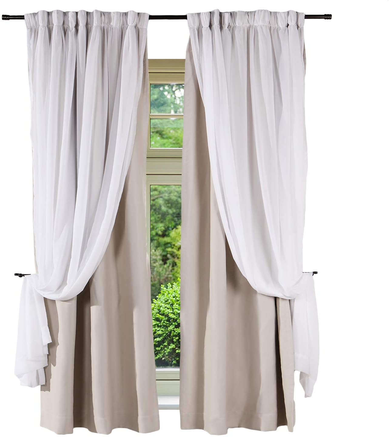 Frelement Room Darkening Curtains Sheer and Blackout Curtain 2 Layer Curtains Back Tab Thermal Insulated Drape Flat Hooks 2 in 1 Heading Curtains for Bedroom Kids Room 50 W x 96 L, Beige, 1 Panel