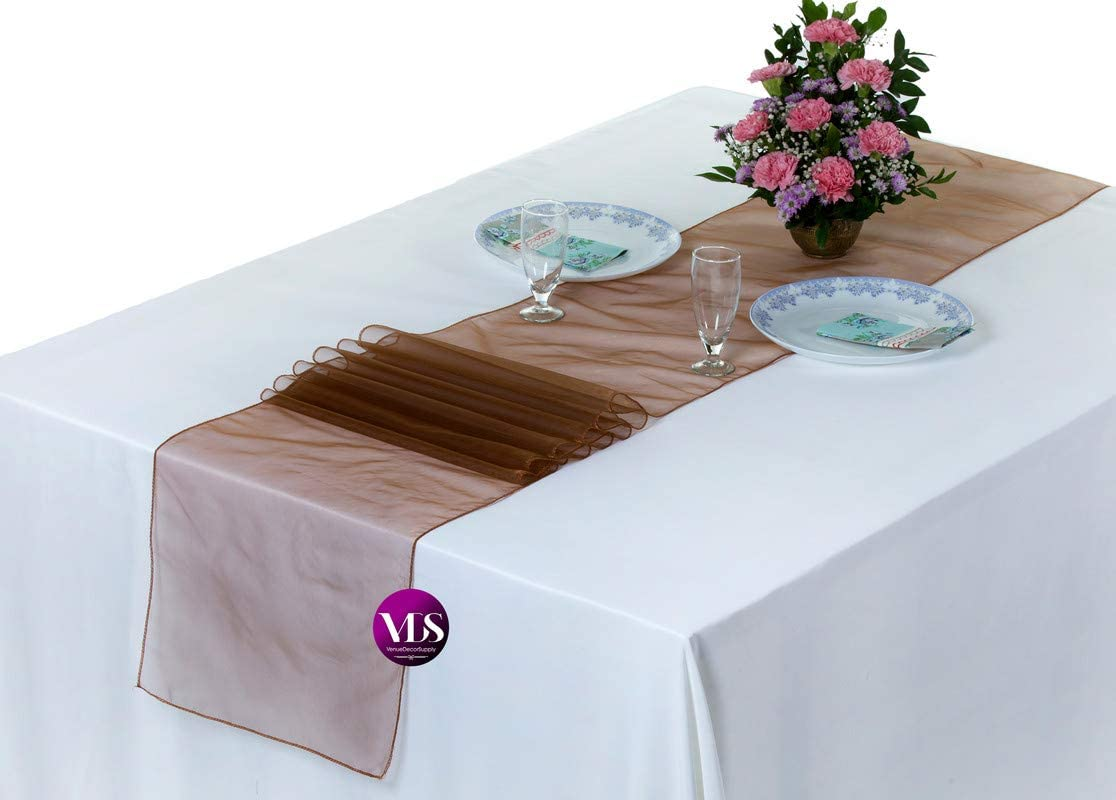 VDS Table Runner Organza Table Cloth Decoration for Wedding Ceremony Events Birthday Party (12 x 108 inch) (Pack of 1 Chocolate Brown)