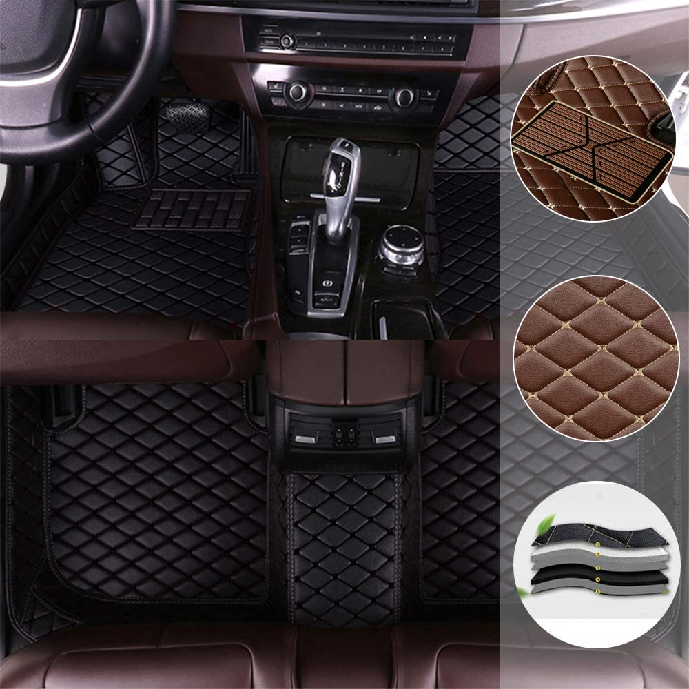 saitake Car Floor Mats for Mercedes Benz CLK 2door 2003-2009 Full Coverage Liner All Weather Front and Rear Floor Mats Waterpoof Non-Slip PU Leather Pad Left Drive Black