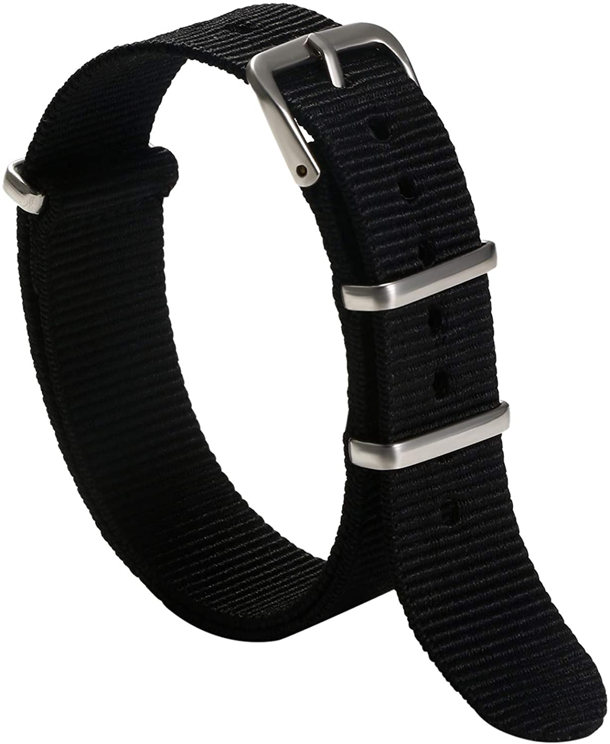 AVANER Watch Strap Nylon Striped Band Replacement Strap with Stainless Steel Buckle for Men Women (18mm 20mm 22mm)