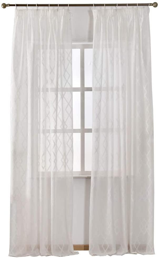 NAPEARL Faux Linen Semi-Sheer Curtain Panel Set of 2 Pieces (52 Wx108 L, White)