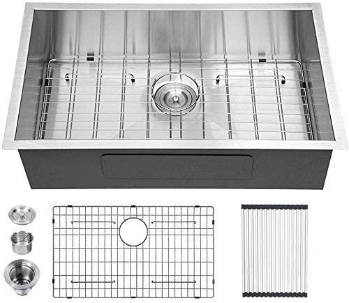 33 Kitchen Sink Undermount - Logmey 33 inch Undermount Kitchen Sink 18 Gauge Deep Single Bowl Stainless Steel Undermount Sink Basin