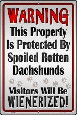 Maizeco Protected by Dachshund Retro Vintage Metal Tin Signs Rustic Decor Wall Art Sign,12x8 Inches