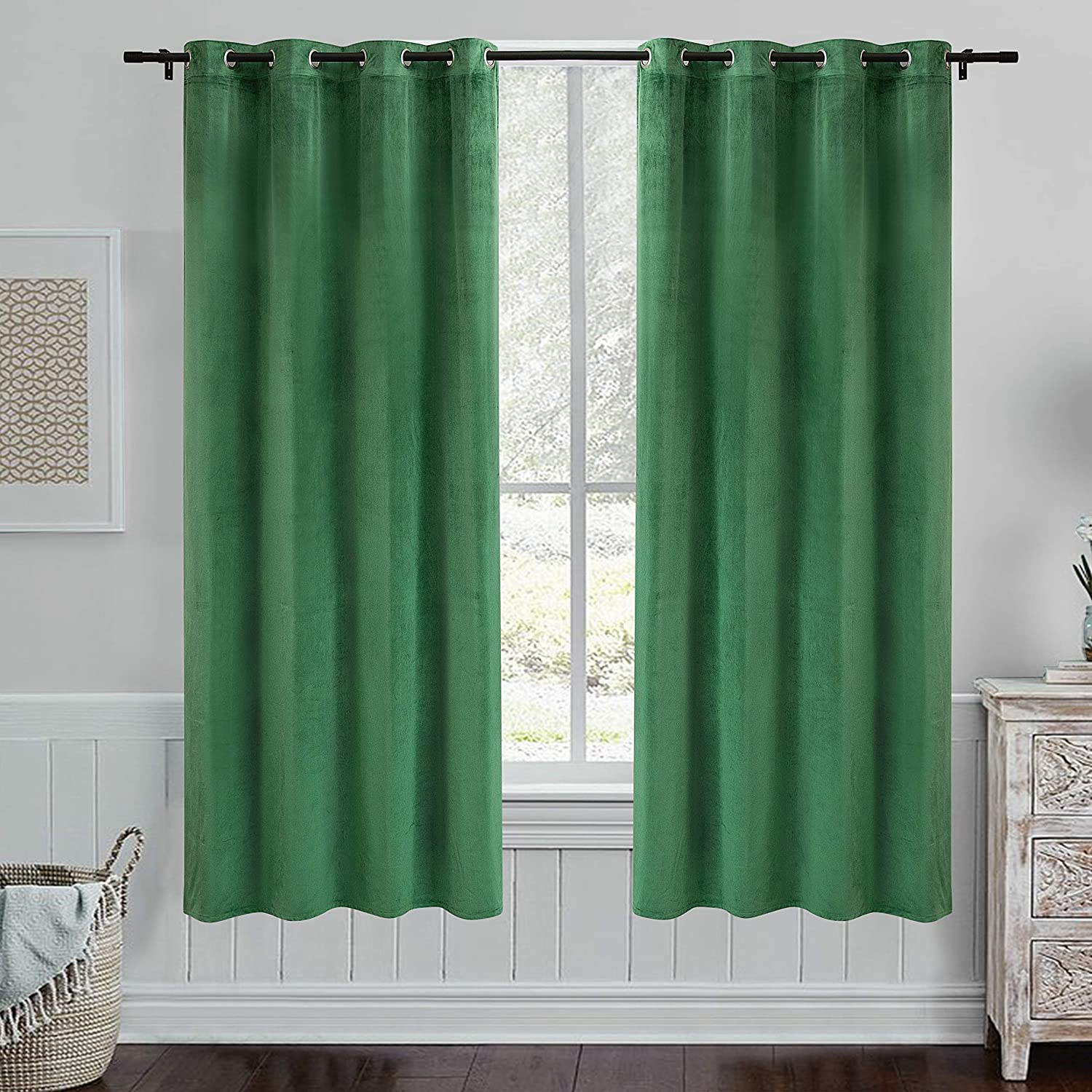 PY Home & Sports Green Velvet Curtains 84 Inches- Room Darkening Curtains Grommet Blackout Window Treatment for Living Room Solid Draperies(Dark Green, 52