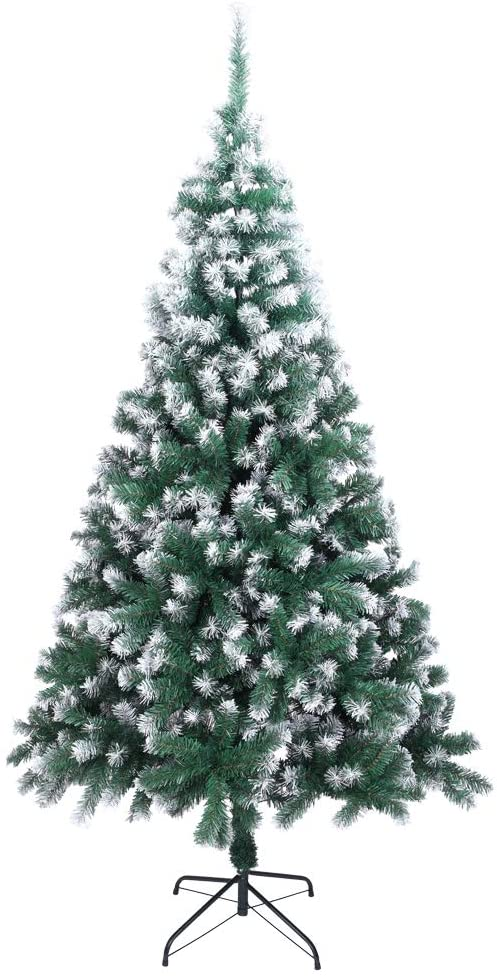 【Most People Choose】 7ft Premium Spruce Artificial Holiday Christmas Tree for Home, Office, Party Decoration w/ 870 Branch Tips, Easy Assembly, Metal Hinges & Foldable Base (Green&White, 7FT)