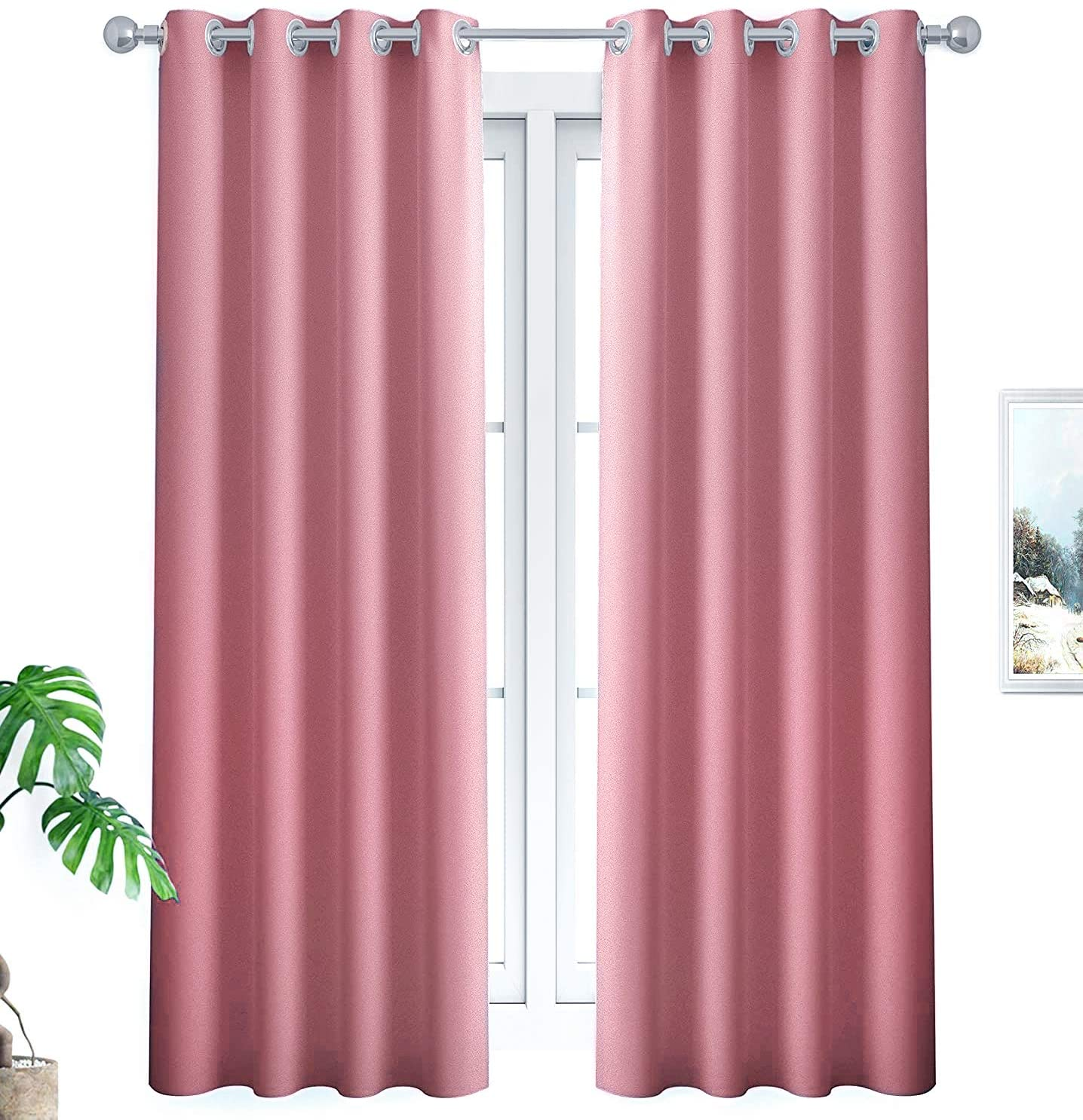 YUDSUD Blackout Curtains Panels for Bedroom Room Darkening Curtain Panels for Living Room Thermal Insulated Draperies/Drapes for Window with Grommets Set of 2 Panels (34