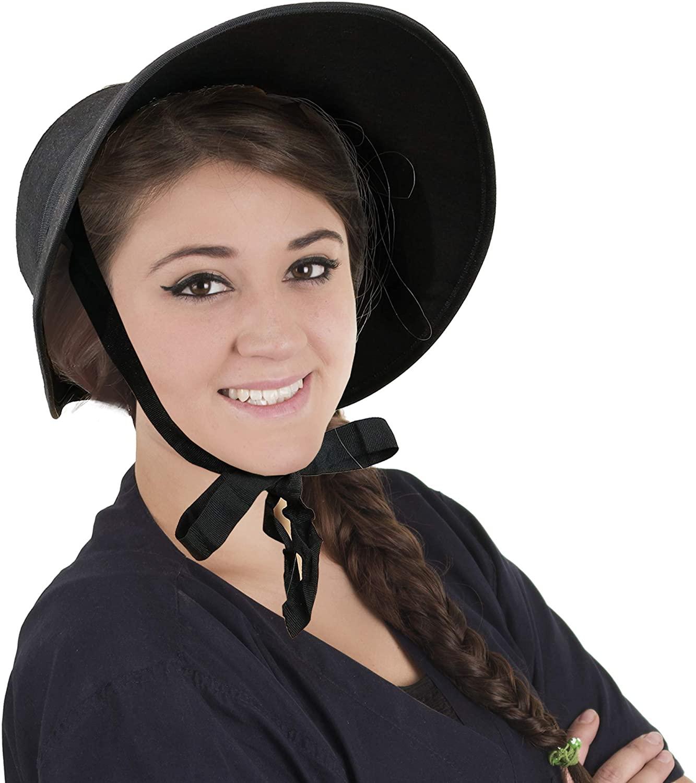 Skeleteen Vintage Old Fashioned Bonnet - Black Colonial Pioneer Prairie Felt Sun Hat Costume Bonnets for Women and Children