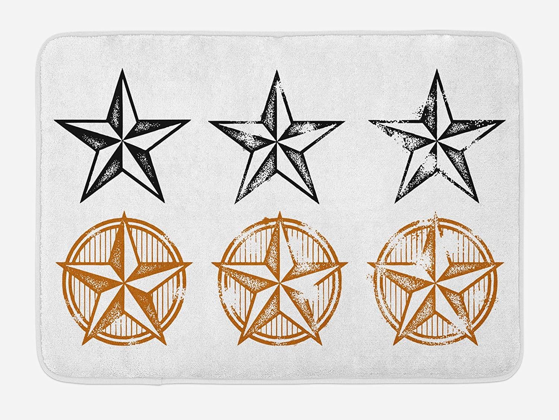 Ambesonne Texas Star Bath Mat, Vintage Western Stars Antique Hand Drawn Illustration Stripes, Plush Bathroom Decor Mat with Non Slip Backing, 29.5