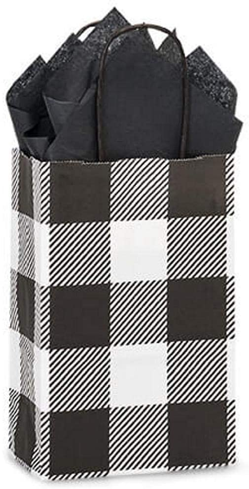 NW Buffalo Plaid Black Paper Shopping Bags - Rose Size - 5 1/2 x 3 1/4 x 8 1/2in. - 200 Pack