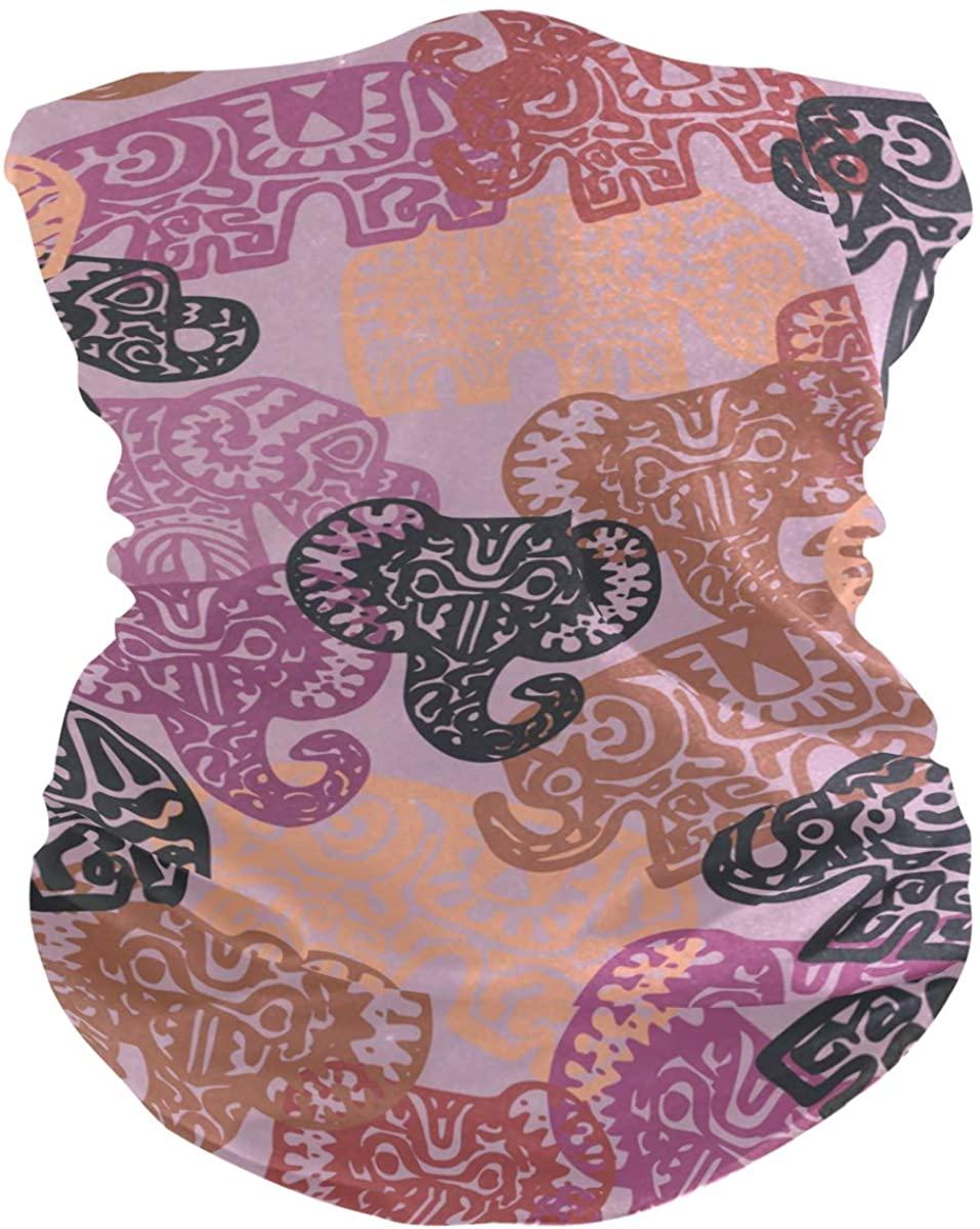 Face Mask Bandana Balaclava Neck Gaiter for Women Men, Elephant Pattern Face Sun Dust Mask Magic Scarf Headwear for Running Fishing Outdoor