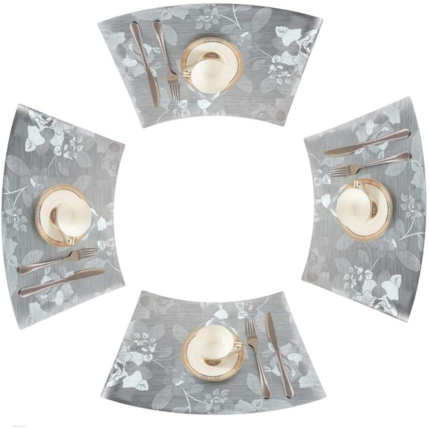Yaohai Placemats for Round Dining, PVC Western Placemat Hotel Table Mat Waterproof Mats for Kitchen Dining Set of 4 (Color : Silver)