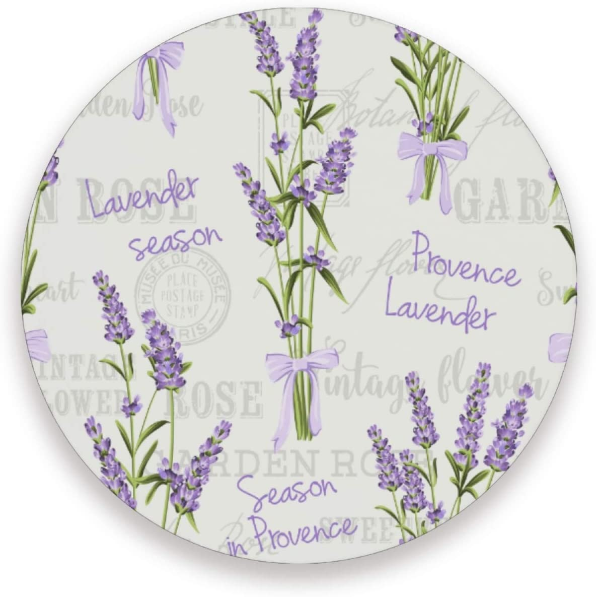 Set of 2 Round Ceramic Coasters, Lavender Flowers Watercolor Pattern, 3.9