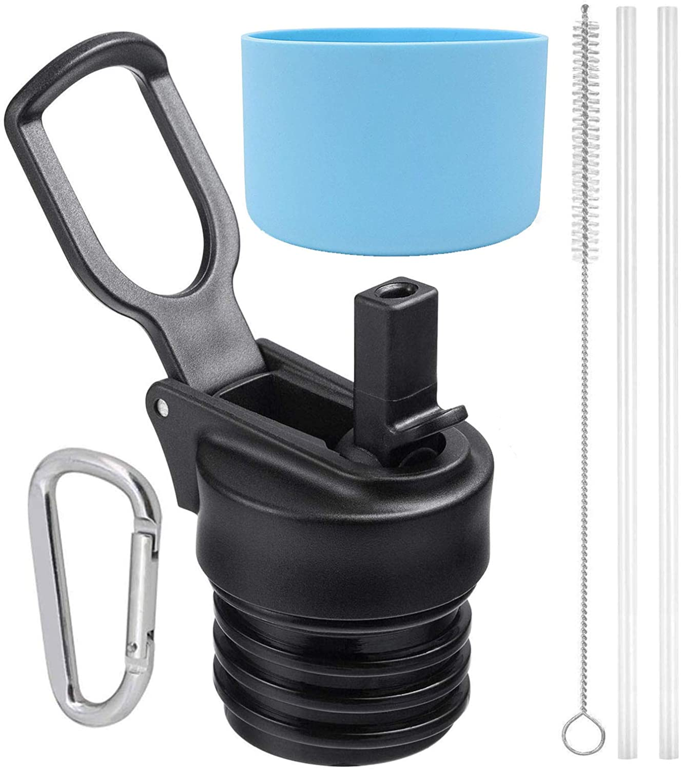 One MissionX Straw Lid & Silicone Flex Boot Set, Compatible with Hydro Flask Standard Mouth 18, 21, 24 oz Water Bottle & Simple Modern Ascent Bottles. Leak Proof