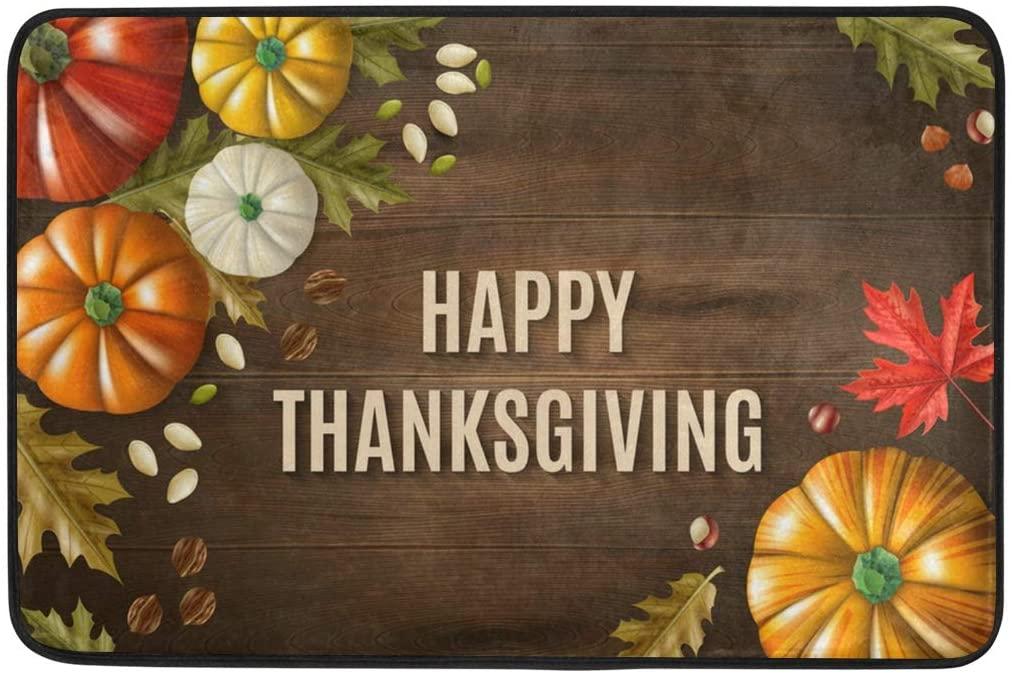 Krafig Welcome Door Mat Thanksgiving 23.6x15.7 Inches Decorative Indoor&Outdoor Mat, Washable Durable Non Slip Rug for Entryway, Front Porch, Bathroom, Bedroom