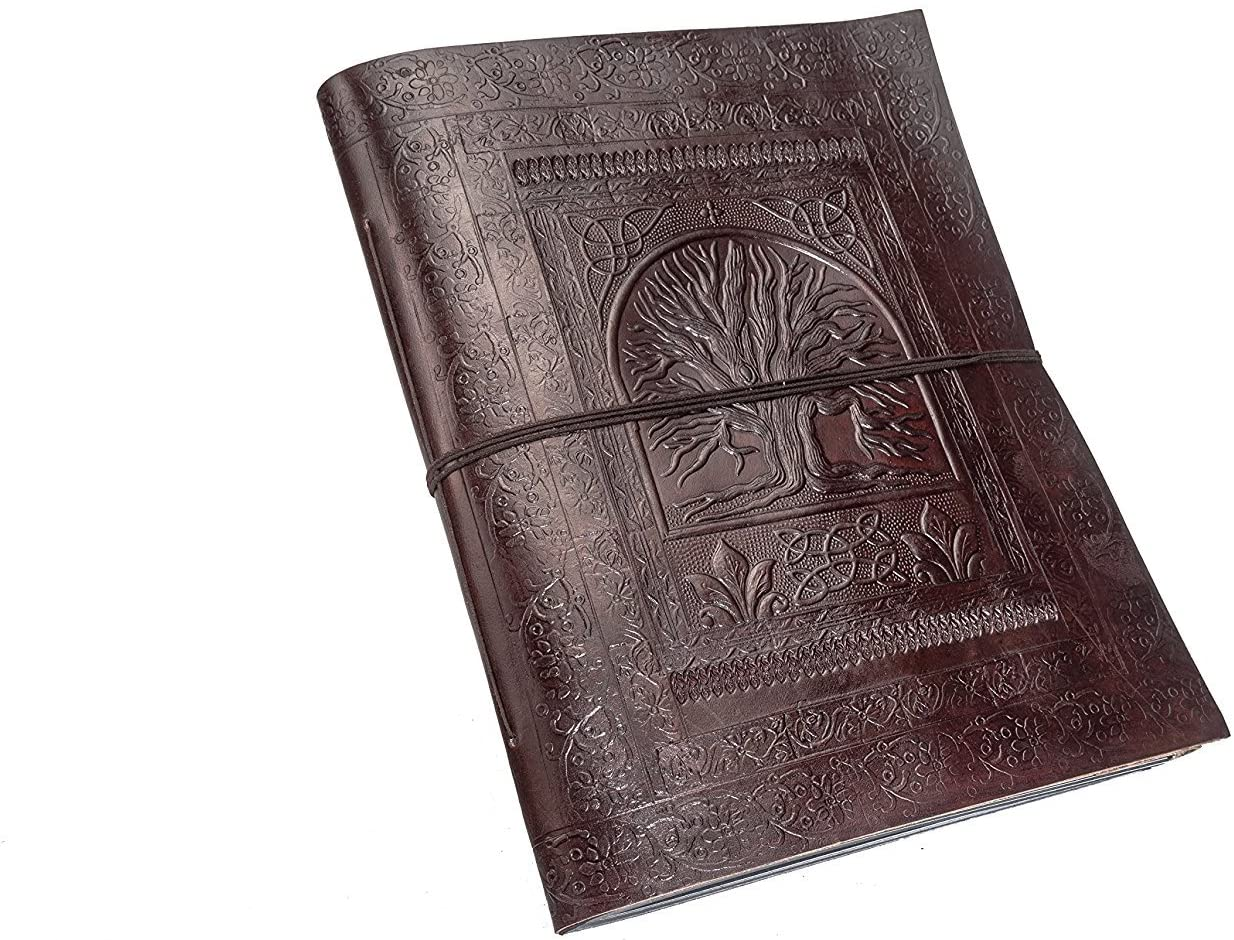 TUZECH Pure Genuine Real Vintage Leather Diary Leather Journal Handmadepaper Photoalbum Diary for Office Home to Write Poem Daily Update - Ultra-Large - 13 INCHES