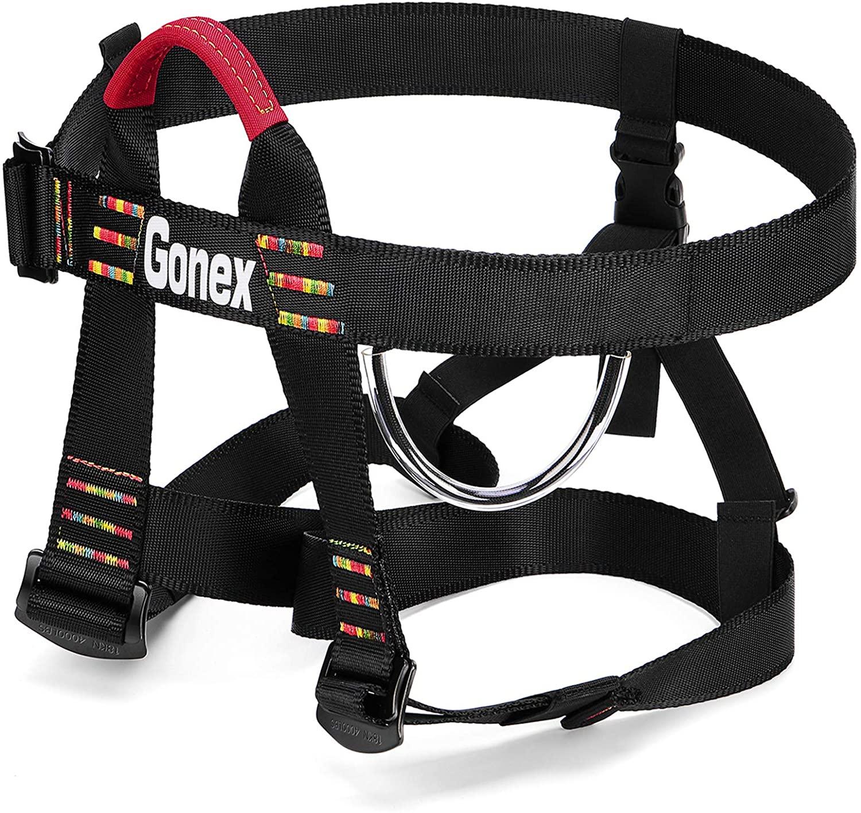 Gonex Rock Climbing Harness, Tree Climbing Harness Adjustable Mountaineering Rappelling Safe Seat Belts for Men Women