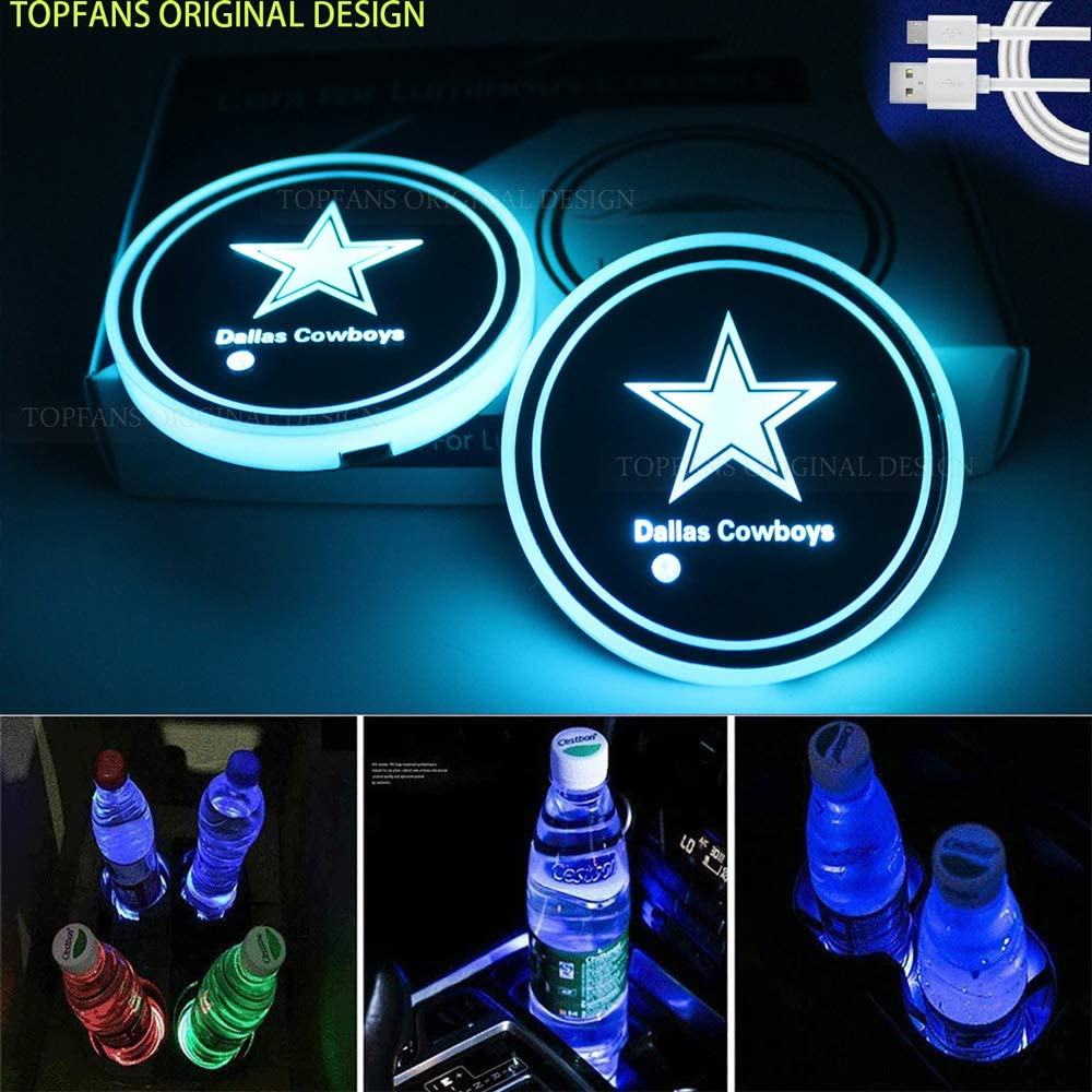 Topfans 2PCS Fit Dallas Cowboys Car Cup Holder Lights,USB Charging Lights Up The Coaster,Changeable Color LED Interior Atmosphere Lamp (fit Cowboys)