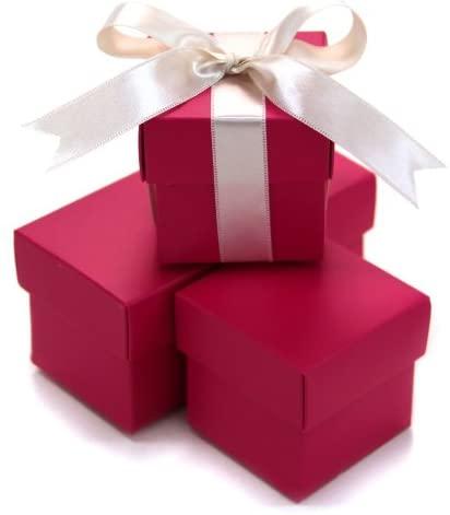 Koyal 2-Piece 100-Pack Square Favor Boxes, Fuchsia