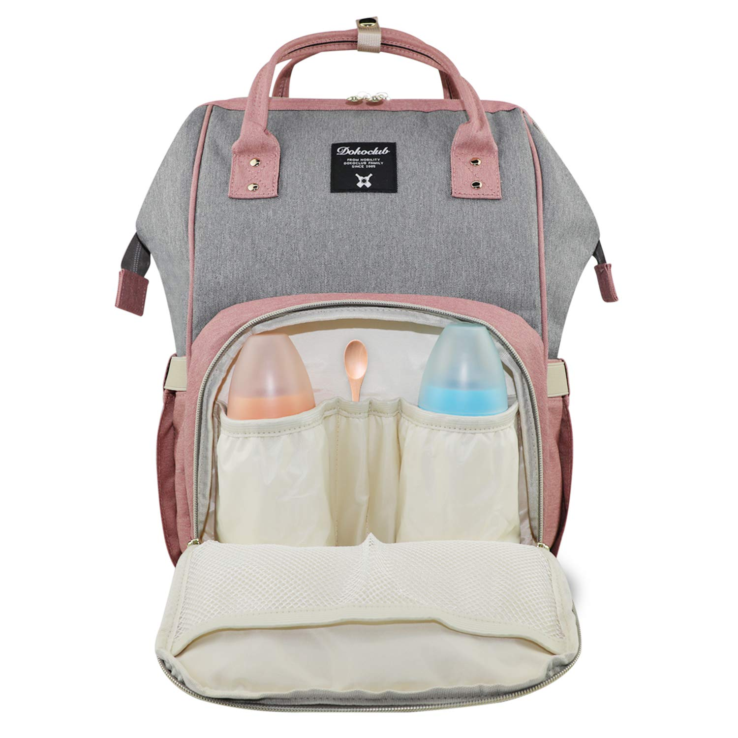 Vakabva Diaper Bag Backpack, Waterproof Diaper Bag Large Capacity Mommy Backpack Baby Nappy Bags with Multi-Function, Durable and Stylish (Pink with Grey)