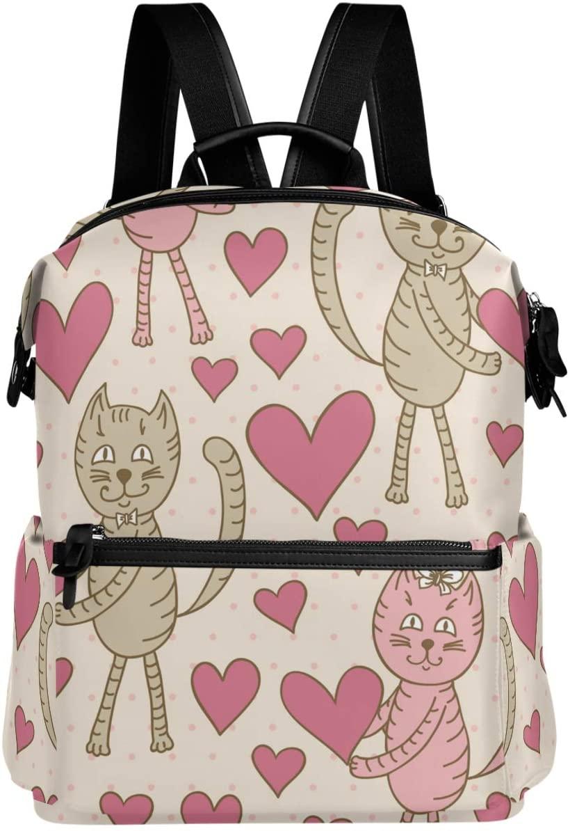 Oarencol Cute Cat Heart Backpack Pink Polka Dot School Book Bag Travel Hiking Camping Laptop Daypack