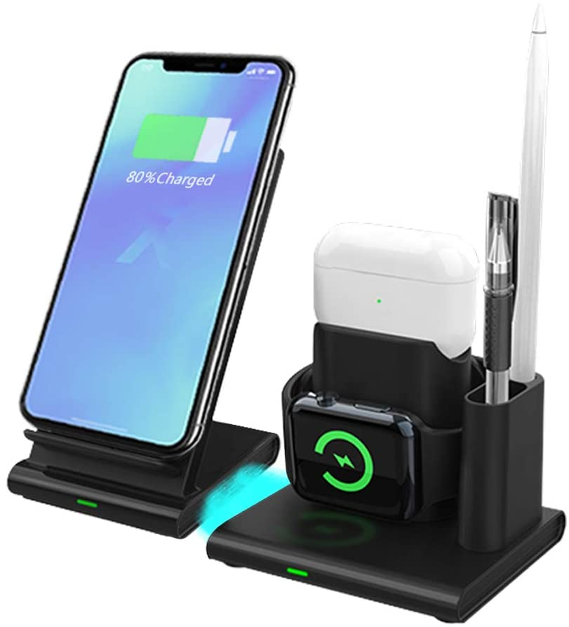 Super Space 4 in 1 Wireless Charger,QI Certification Fast Charging Station,Supported Devices are Apple Watch,Airpods(1-3,pro),Apple Pen,Mobile Phone Models That Meet The QI Standard.