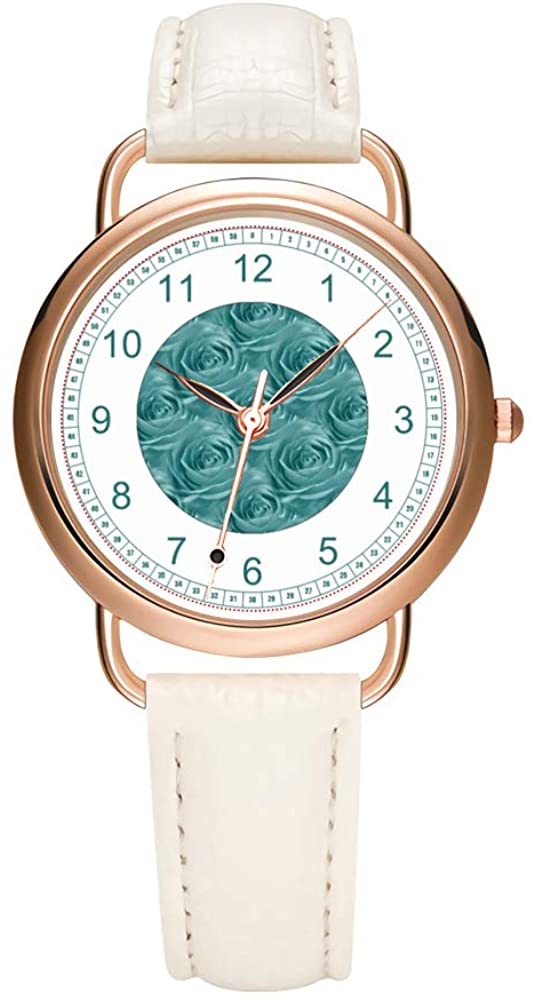 Women's Watches Brand Luxury Fashion Ladies Watch White and Black Leather Band Gold Quartz Wristwatch Female Gifts Clock Aqua Rose Center Floral Photo Pattern Wrist Watches