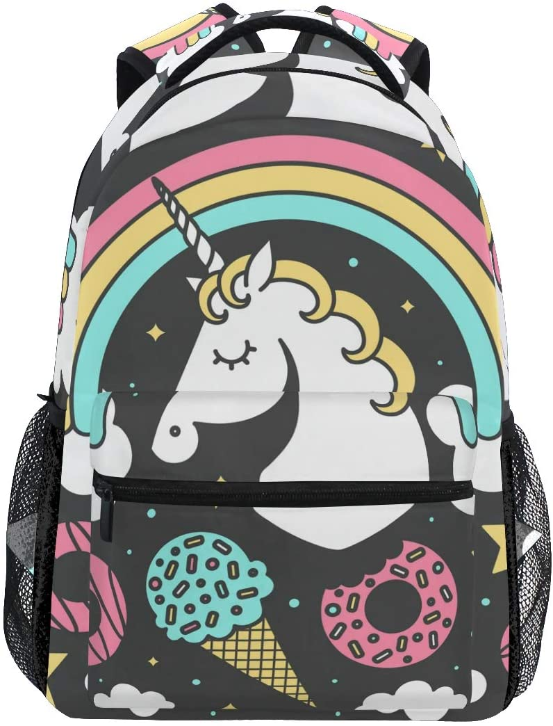 OREZI Lightweight Backpack for School,Vector Composition with Unicorn and Rainbow Bla Laptop Backpack Casual Travel School Bookbags for Youth Boys and Girls Back to School