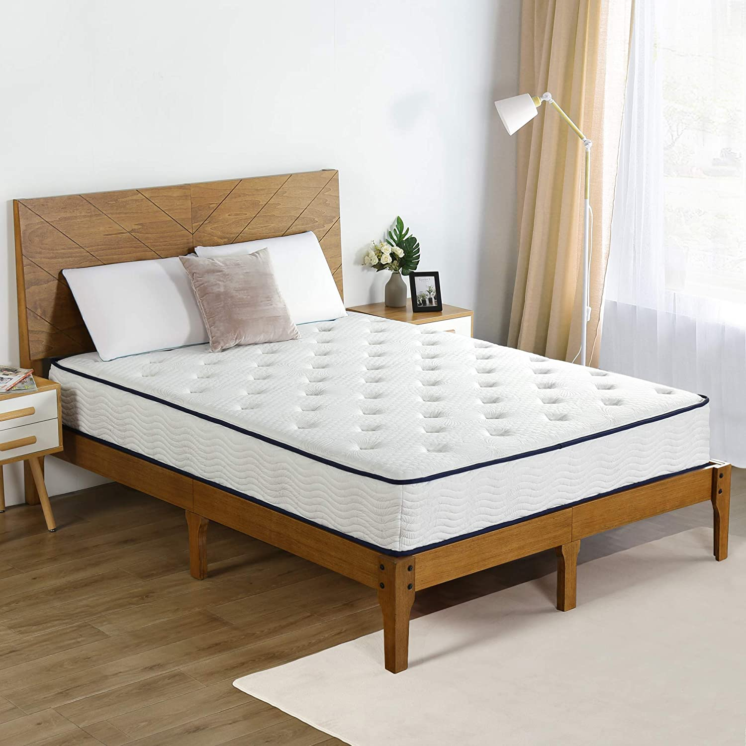 Olee Sleep 10 inch Tight Top Spring Mattress King Blue Piping,