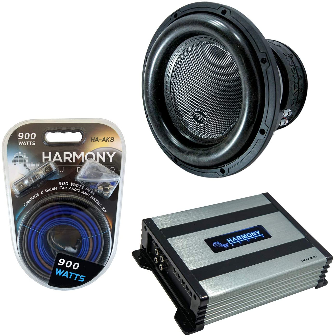 Harmony Audio HA-ML121 Monolith 12 Competition Sub 3000W Subwoofer Bundle with HA-A800.1 Amplifier & Amp Kit