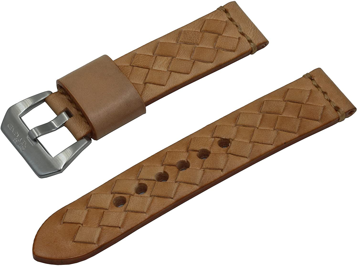 SWISS REIMAGINED Real Leather OLC Replacement Watch Band Strap with Stainless Steel Buckle - Tan, 24mm