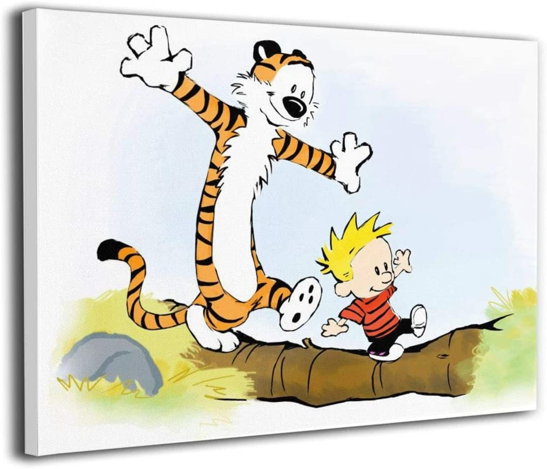 Sadie Mae Calvin and Hobbes Canvas Wall Art Posters Painting Prints Living Room Wall Pictures for Kids Boys Girls Bedroom Bathroom Wall Decor Framed Easy to Hang 12x16in