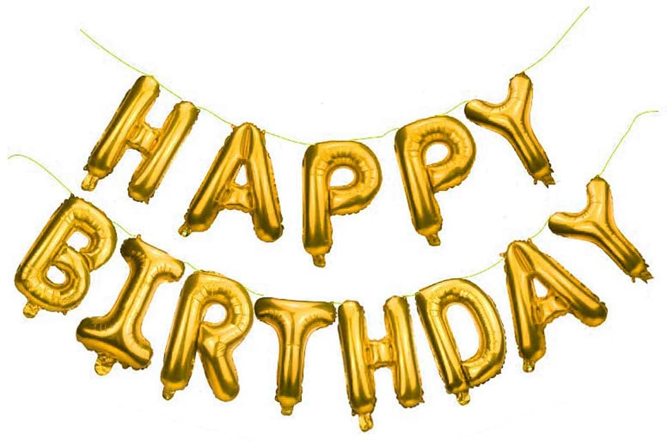 Happy Birthday Balloons for Party Decorations, Aluminum Foil Banner Balloons for Birthday Party Supplies (Gold)