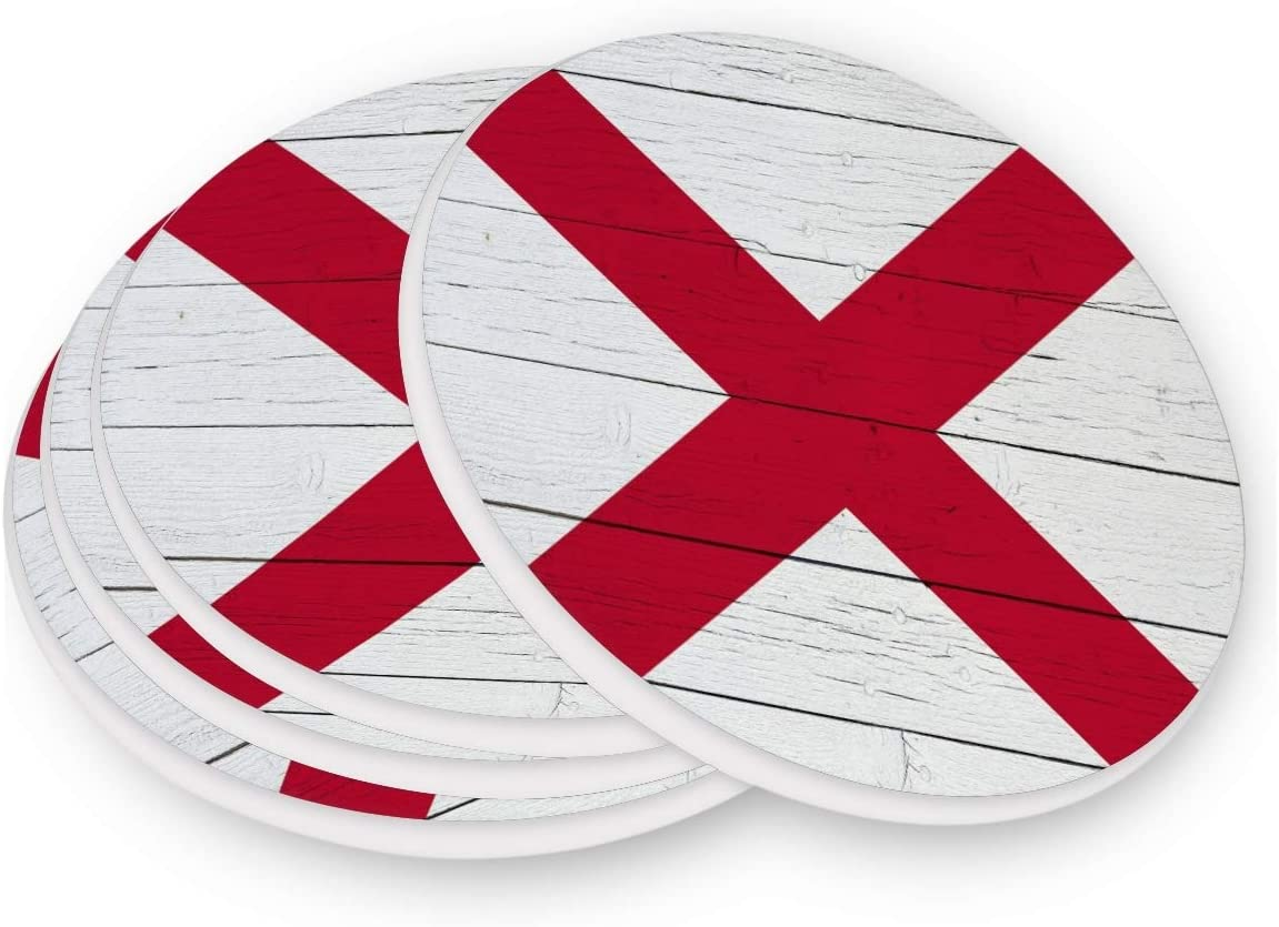 RsebidR Alabama Flag Retro Wood Set of 1, Heat-Resistant Washable Coaster Round Absorbent Ceramic Layer Cup Mat Pad Coasters Suitable for Kinds of Mugs Drinks