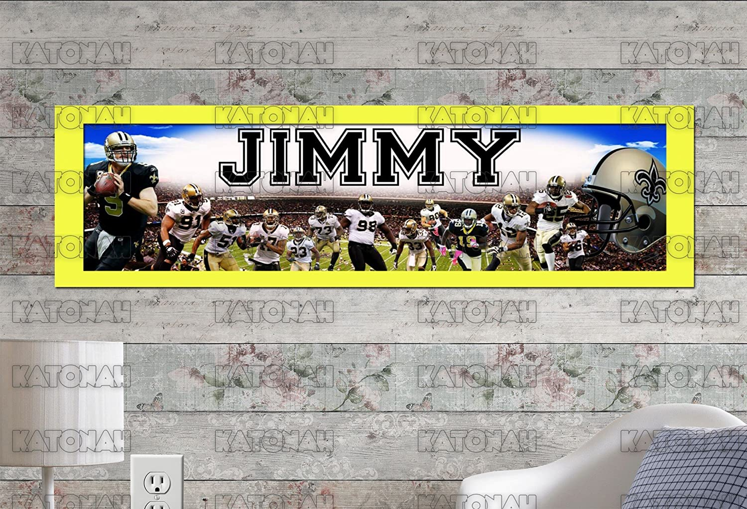 Customized Name Painting New Orleans Saints Poster With Your Name On It Personalized Banner With Border Mat