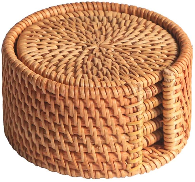 Rattan Coaster Set Cup Base Plates Dishes Insulated Hot Pads Pot Holder Round Tableware Placemat Dish Mat Rattan Weave Cup Mat Pad(L)