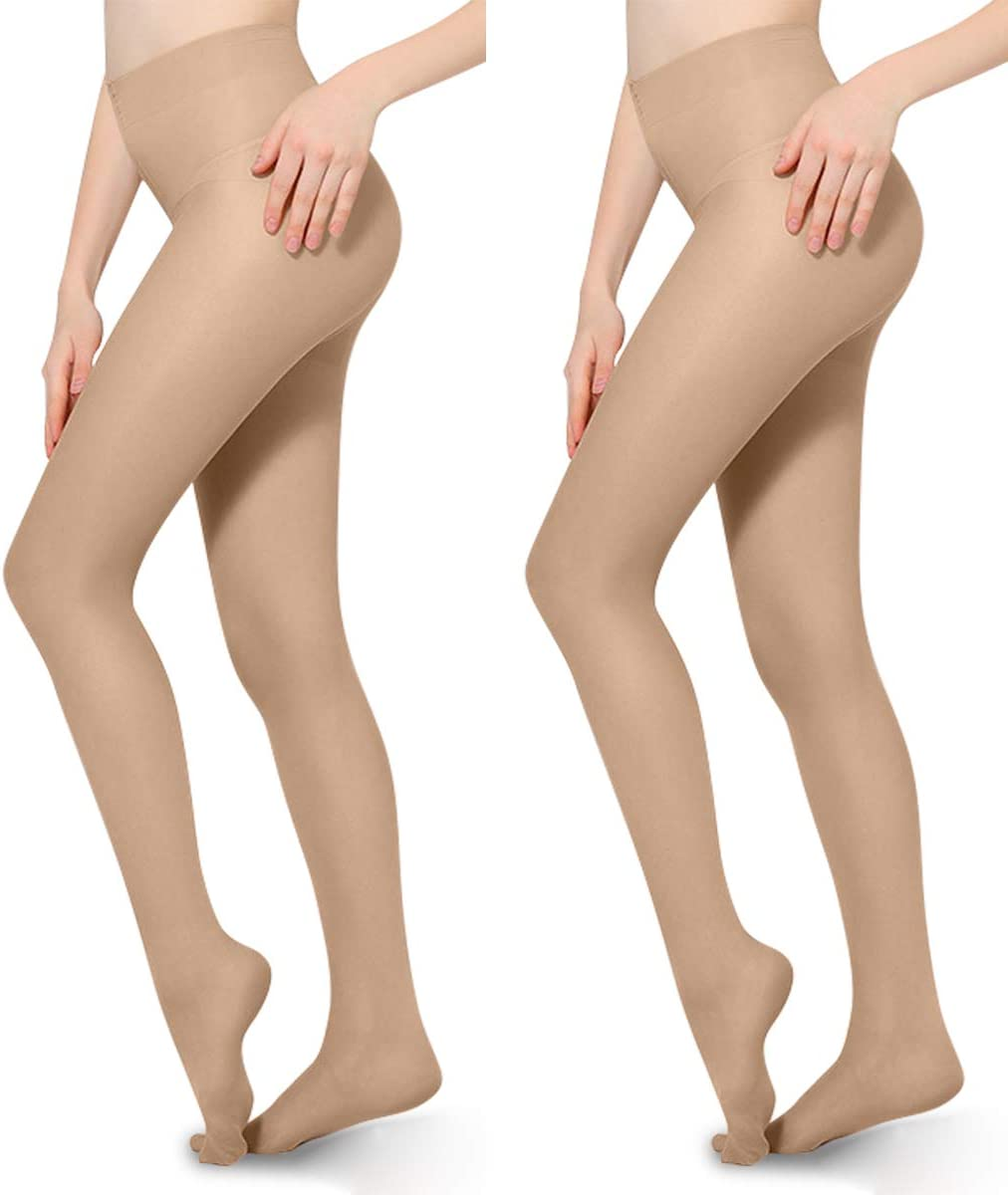 2 PCS 20-30mmHg Compression Pantyhose Opaque Support Pantyhose Closed Toe for Women Men Help Relieve Swelling Varicose Veins Edema Beige M