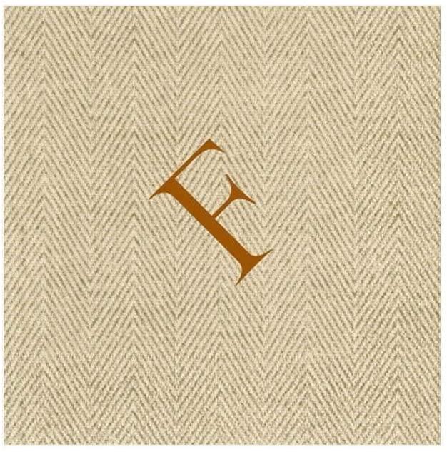 Caspari Natural Jute Paper Linen Boxed Cocktail Napkins in Letter F - Pack of 30