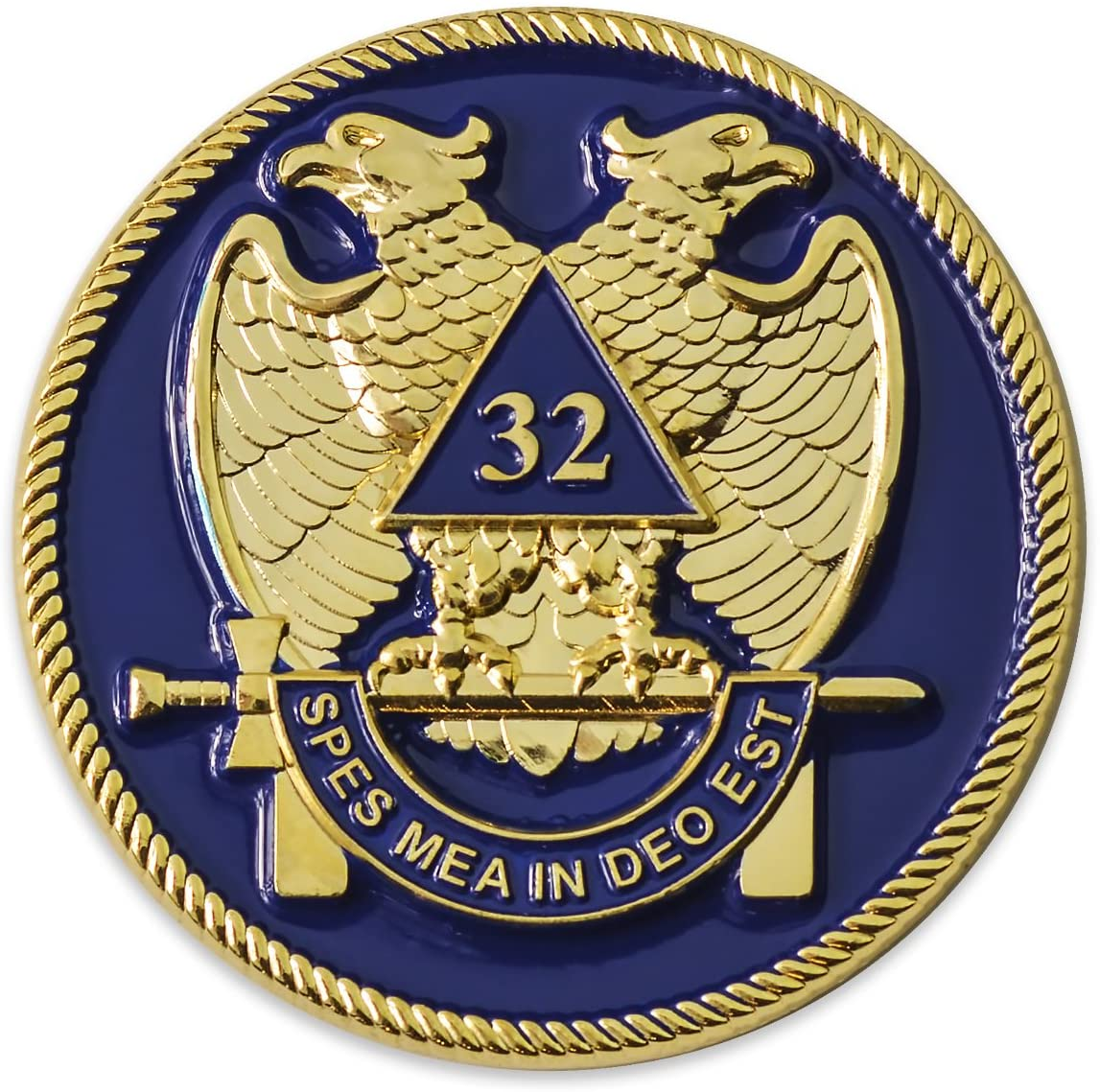 32nd Degree Scottish Rite Masonic Auto Emblem - [Blue & Gold][2'' Diameter]