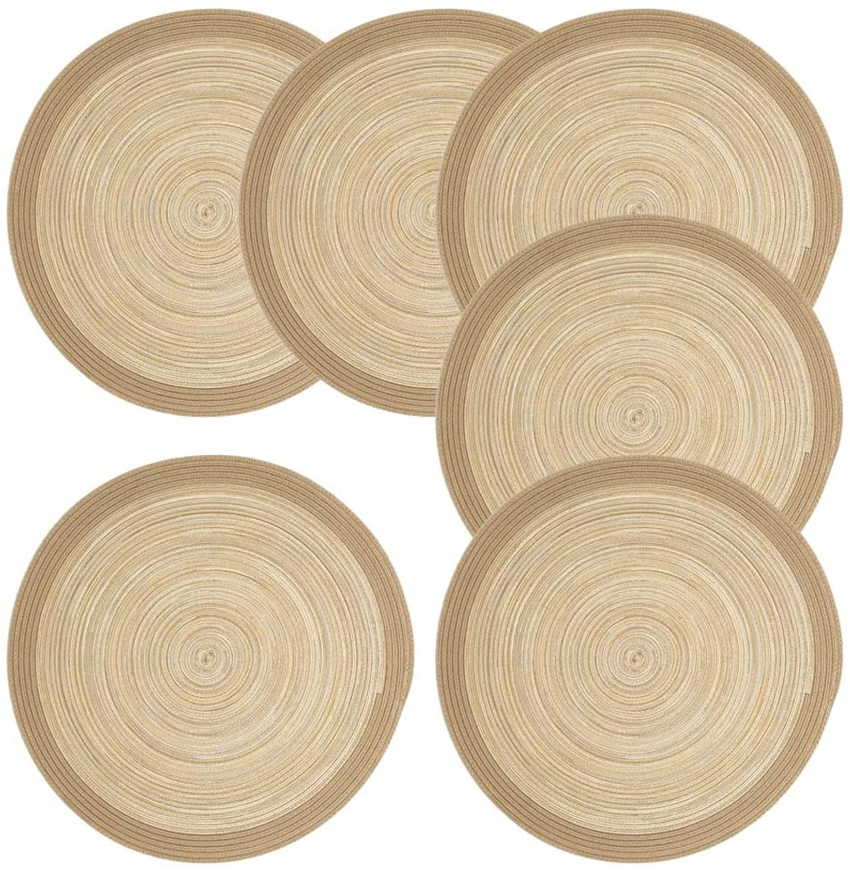 Krono Krown Round Braided Table Placemats Set of 6 15 inch Washable for Holiday Party (Raffia Series + Silver Silk Round)