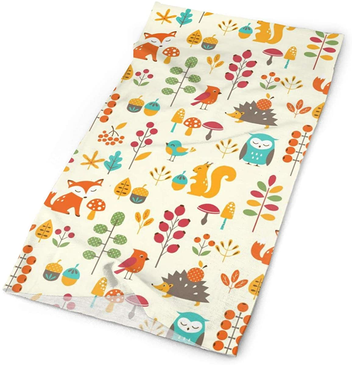 Cute Kids Autumn Pattern With Owl Fox Squirrel Birds Animal Leaves Artsy Print Face Mask Seamless Reusable Cloth Neck Gaiter Summer Cooling Bandanas Sun Uv Proof Scarf Headwear For Womens And Mens