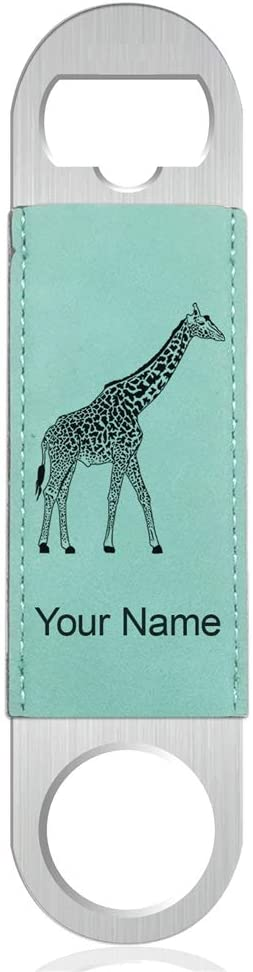 Bottle Opener, Giraffe, Personalized Engraving Included (Faux Leather, Teal)