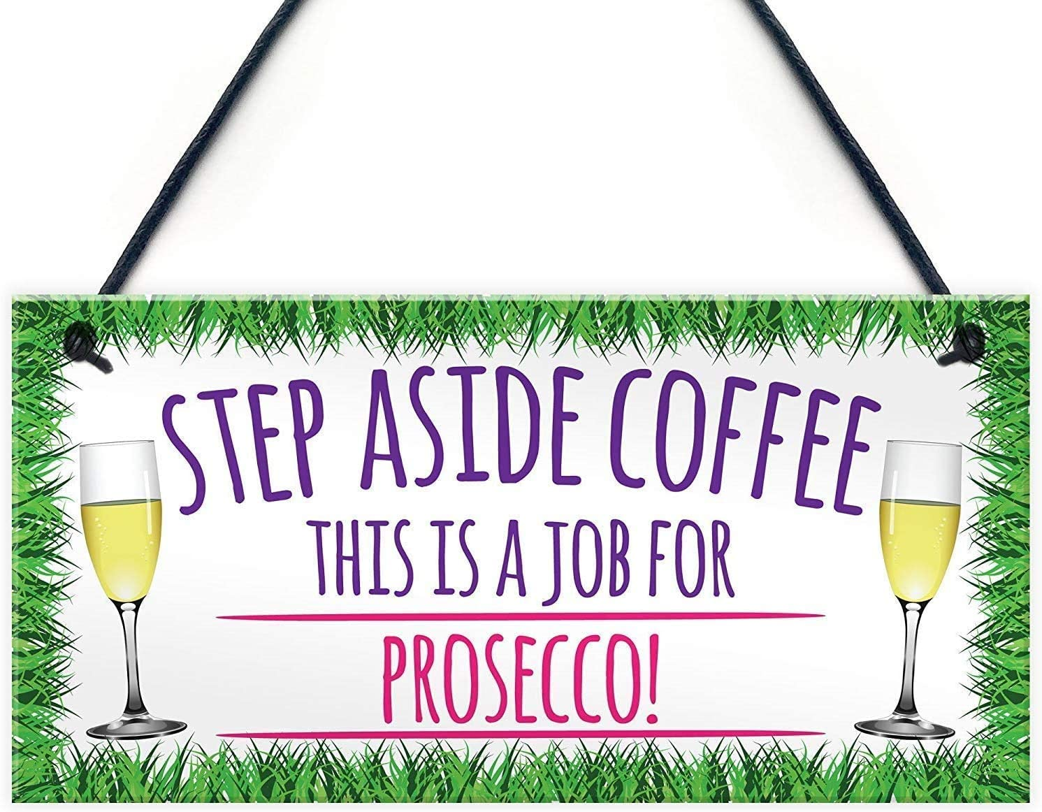 INNAPER Step Aside Coffee Prosecco Wood Signs Plaque Best Friend Wine Gifts 10x5(49BW850)