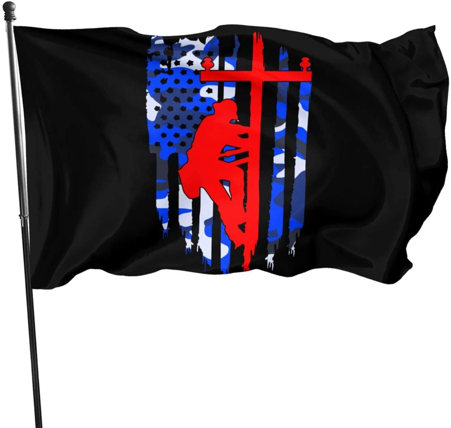 OVX American Flag Lineman 3x5 Foot Flag Outdoor Flag 100% Single-Layer Translucent Polyester 3x5 Ft