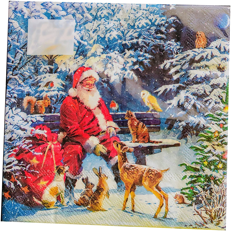 20-ct Animal Santa Napkins | Christmas Napkins | Christmas Paper Napkins | Christmas Cocktail Napkins | Decoupage Paper Napkins | Decorative Paper Napkins for Decoupage | Dinner Napkins Paper