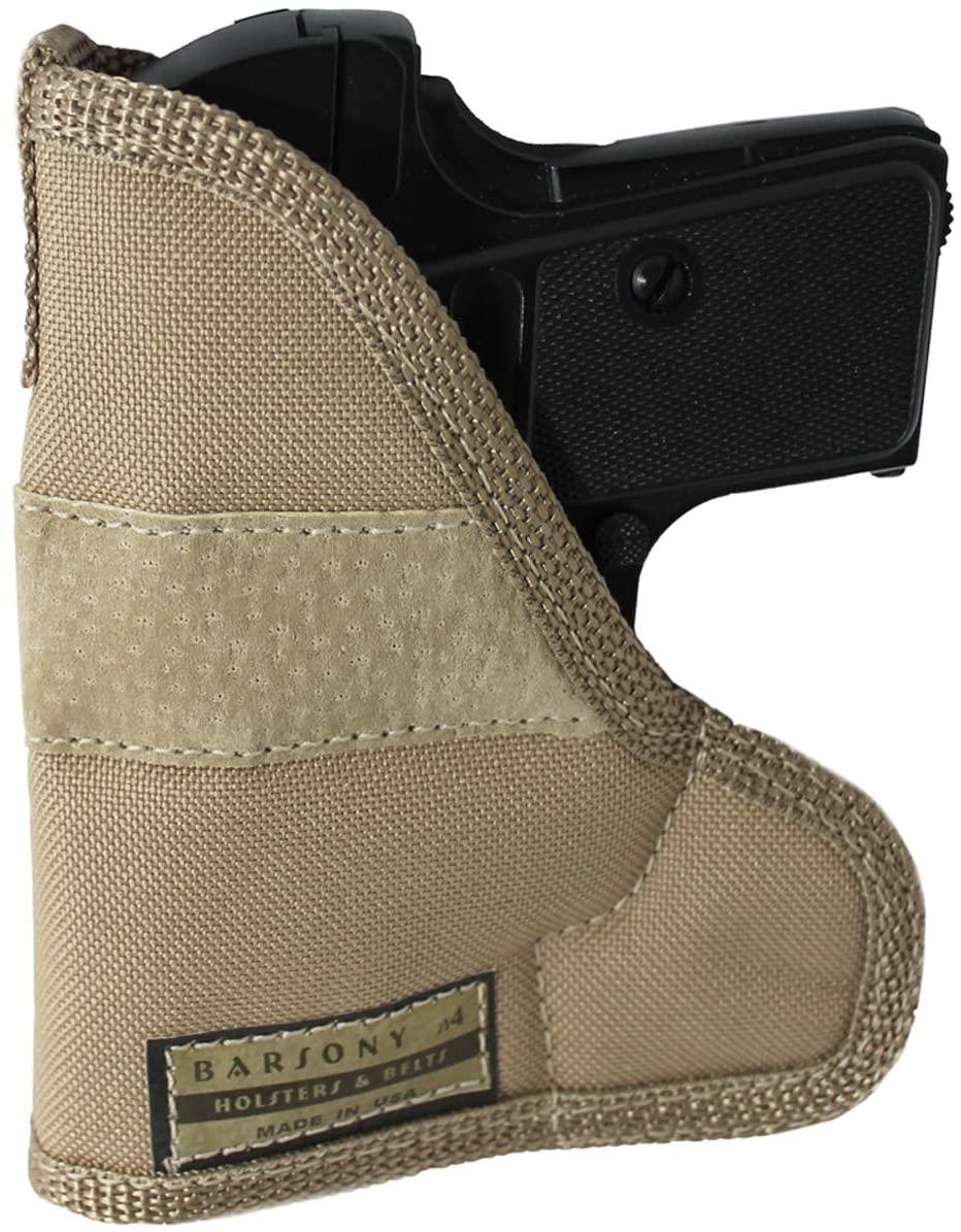 Barsony New Desert Sand Ambidextrous Pocket Holster for Mini .22 .25 .380 .32 Pistols