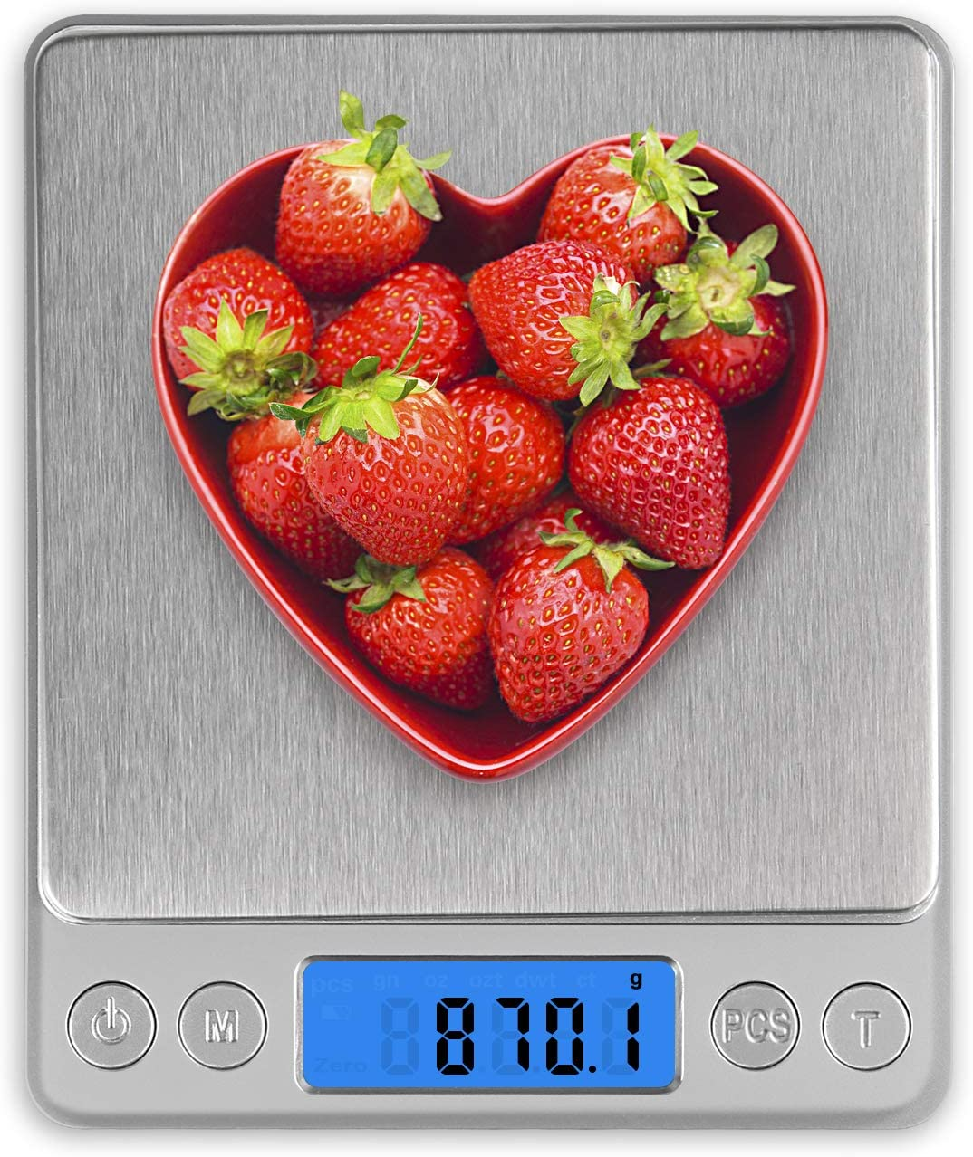 Food Scale Gram Scale with 2 Trays 0.1g-3000g/6.6lb Weight Grams and Oz for Baking, Scale for Food, Stainless Steel Platform