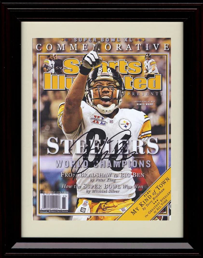 Framed Hines Ward Sports Illustrated Autograph Replica Print - Champs!