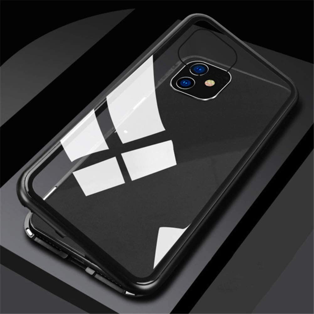 HRSN iPhone 11 Magnetic Protective case, Fully Transparent, 360° Full-Body Protective case, Magnetic adsorption, Single-Sided Tempered Glass, Suitable for 6.1 inches,Black