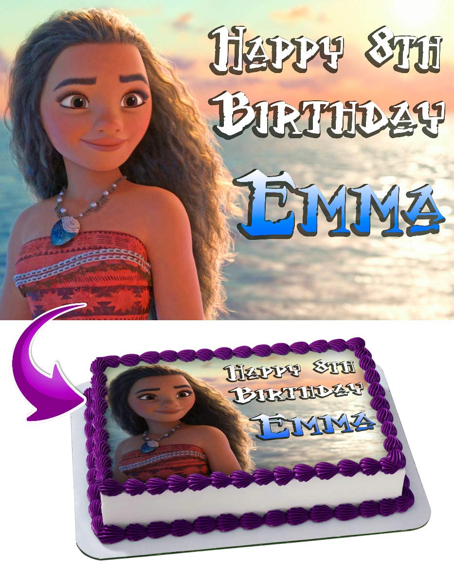 Moana Edible Image Cake Topper Party Personalized 1/4 Sheet
