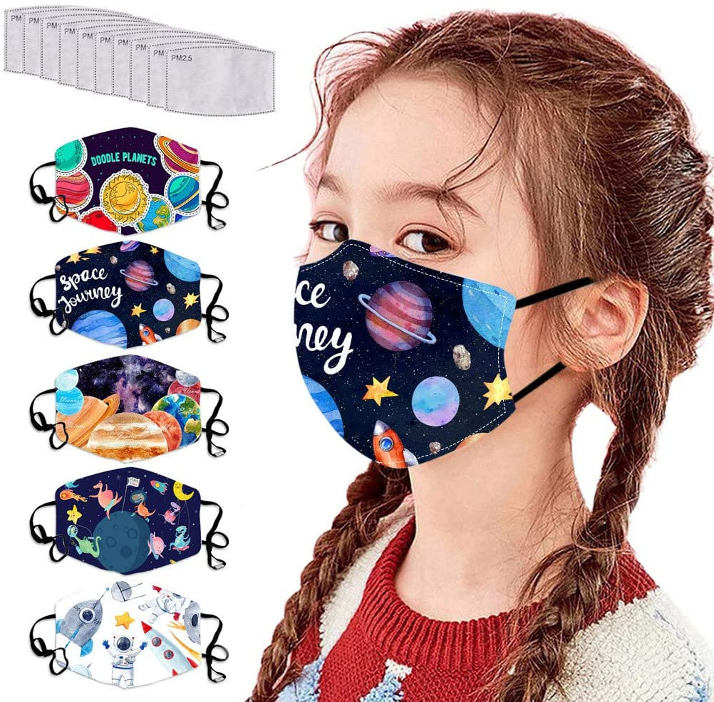 Ecnobia Reusable and Breathable Face ṁɑşḱ, Protection, Face Bandanas with Universe Printed, Comfortable Adjustable Ear Loop, Indoors and Outdoors, Anti-Haze Dust, for Kids (6Pcs + 12Pcs Filters)